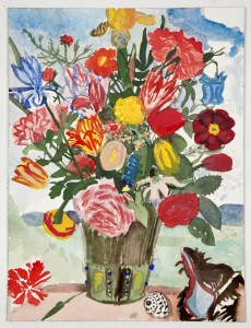 """Vase of Flowers"", 2011, watercolor on paper, 16 x 12 inches"
