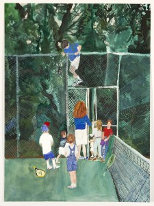"""Tennis"", 2012, watercolor on paper, 28 x 22 inches"