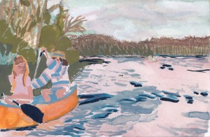 """Casey Canoe"", 2012, watercolor on paper, 4 x 6 inches"